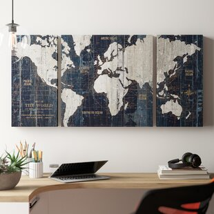 'Old World Map Blue' Framed Graphic Art Print on Wrapped Canvas (Set on drawing map, marine map, north atlantic drift map, denim map, disney channel map, wax map, metallic map, laminated map, geographix map, string map, graphic map, world map, exalted map, middle bay lighthouse map, solid map, calculating map, tarp map, wallpaper map, design your own map, styrofoam map,