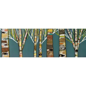 'Birch Tree Forest' by Eli Halpin Painting Print on Canvas in Blue by GreenBox Art