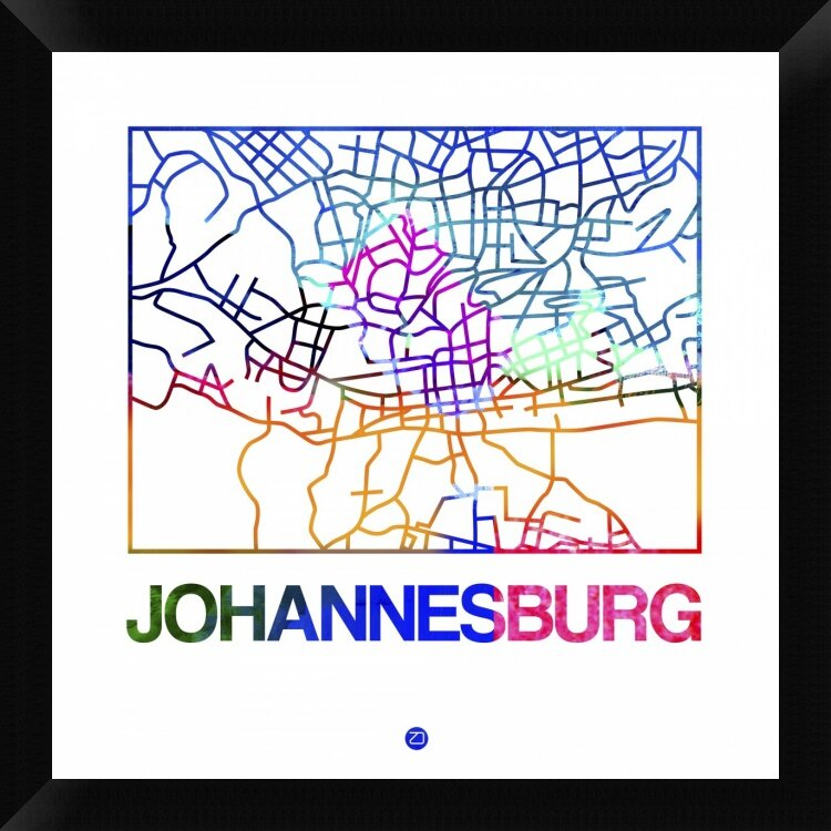 Naxart Johannesburg Watercolor Street Map Framed Graphic