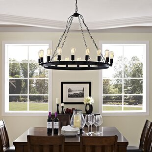 Reviews Teleport 17-Light Wagon Wheel Chandelier By Modway