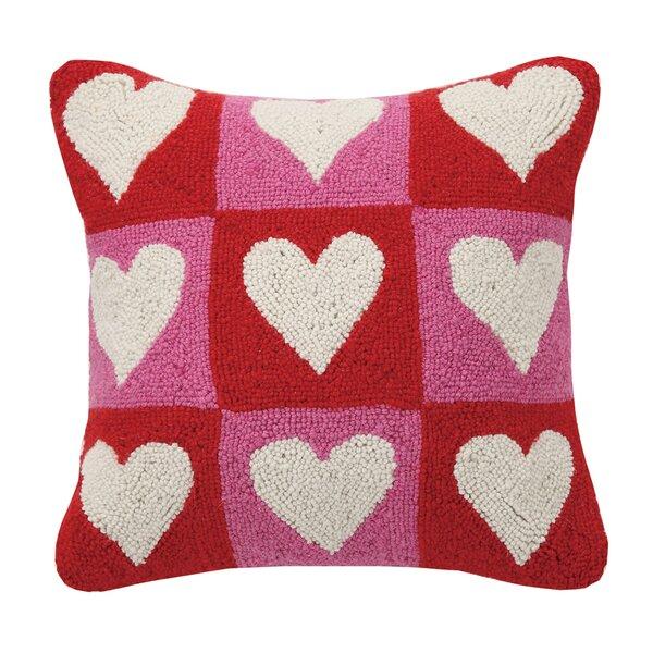 peking handicraft checkered heart valentines hook wool throw pillow reviews wayfair - Valentine Pillow