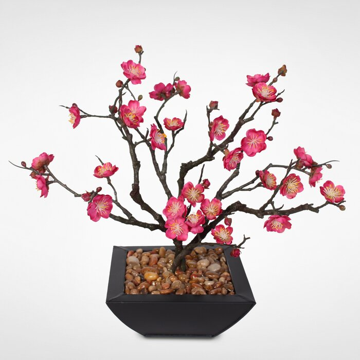 Desktop Silk Plum Blossom Bonsai Tree In Planter