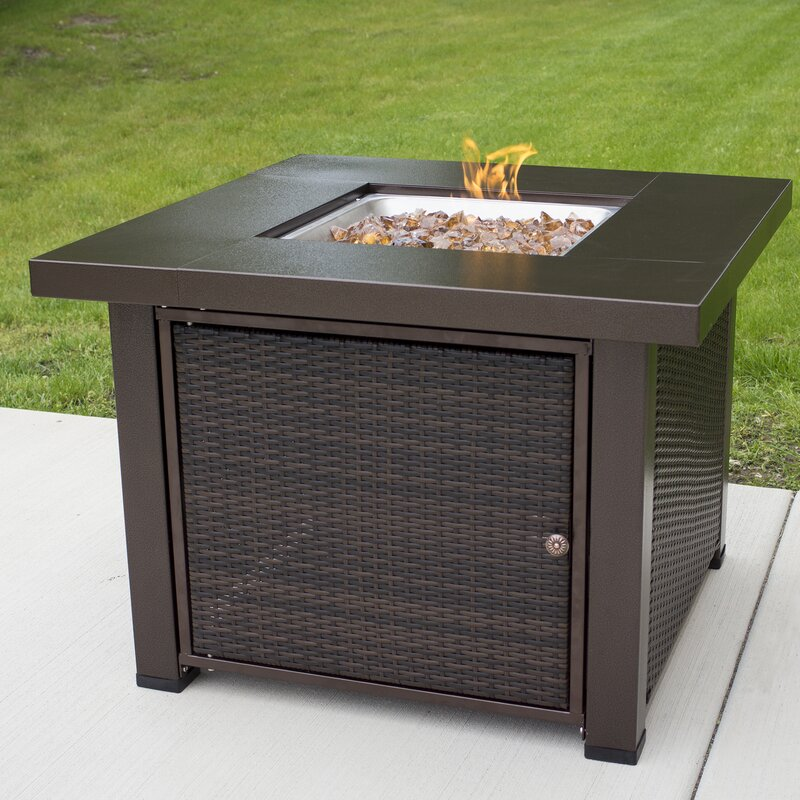 Rio Wicker Propane Gas Fire Pit Table