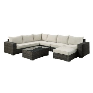 Delmont 7 Piece Rattan Sectional Set with Cushions By Brayden Studio