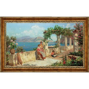 Figures on a Terrace in Capri by Robert Alott Framed Painting Print by Design Toscano