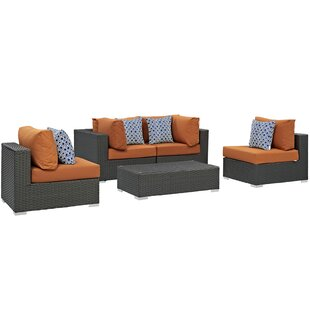 Tripp 5 Piece Rattan Sunbrella Sectional Set with Cushions By Brayden Studio