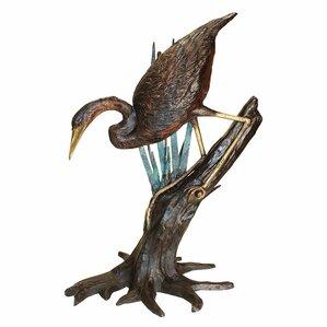 Fishing Heron In Reeds Garden Statue
