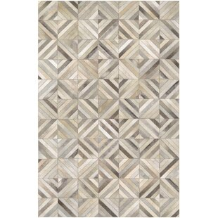 Easthampton Hand Woven Ivory Cowhide Leather Area Rug