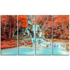 Rainforest Waterfall Laos - Landscape 4 Piece Photographic Print on Wrapped Canvas Set by Design Art