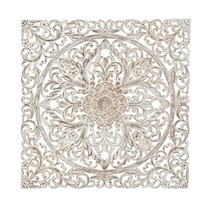 Lovely Traditional Carved Floral Medallion Wall Decor