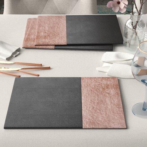 Tischset Geome Brambly Cottage Farbe: Schwarz/Rotgold   Heimtextilien > Tischdecken und Co > Tisch-Sets   Brambly Cottage