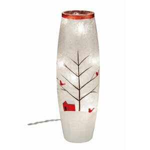 Crackle Glass Light Up Cardinal Du00e9cor