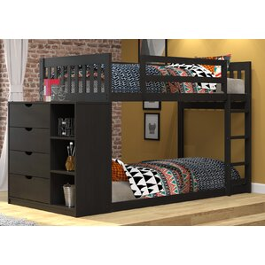 Mission Twin Over Twin Bunk Bed with Chest and Storage
