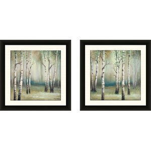 'Late September Birch I' 2 Piece Framed Acrylic Painting Print Set by Alcott Hill