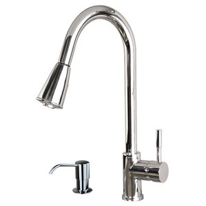 Builders Shoppe Single Handle Pull Down Standard Kitchen Faucet with Soap Dispenser