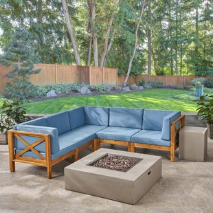 Abbie 5 Piece Teak Sectional Seating Group with Cushions By Longshore Tides