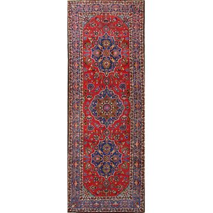 One-of-a-Kind England Geometric Tabriz Persian Hand-Knotted Runner 4'11 x 13'5 Wool Red Area Rug by Isabelline