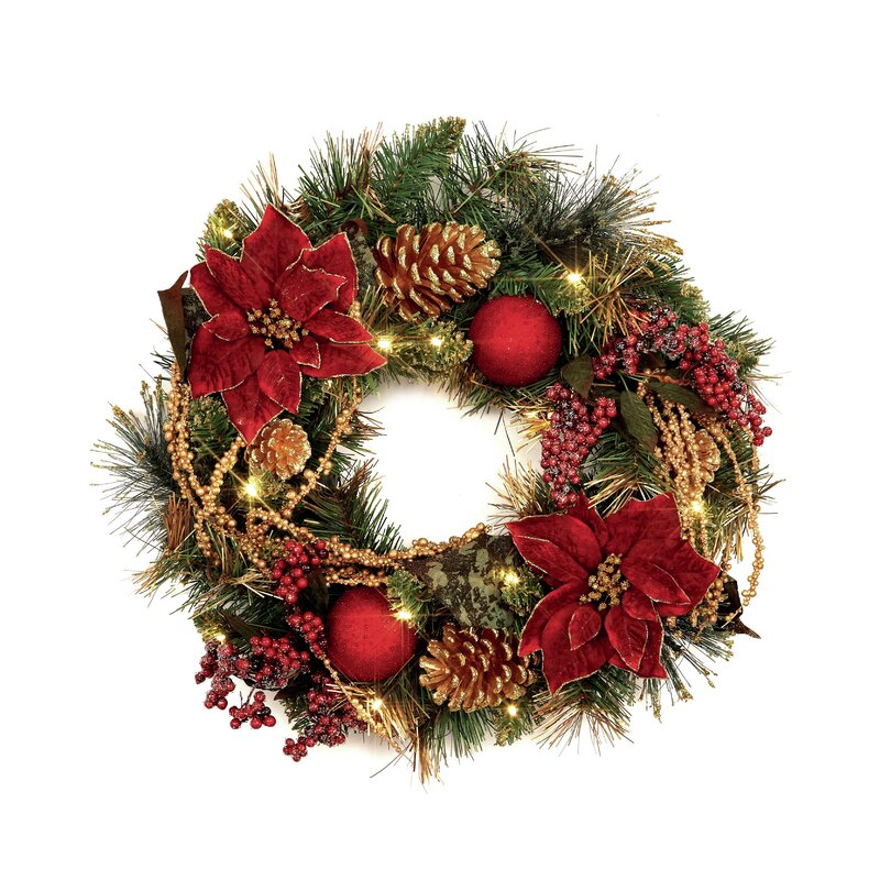 die saisontruhe weihnachtsstern kranz 46 cm mit beleuchtung. Black Bedroom Furniture Sets. Home Design Ideas