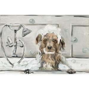'Bubble Bath Puppy' Oil Painting Print on Wrapped Canvas by Red Barrel Studio