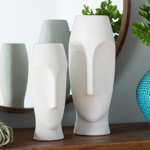 Traver 2 Piece Faces Ceramic Vase Set