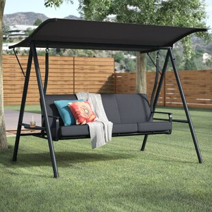 Affordable Price Marquette 3-Seat Cushion Porch Swing with Stand By Andover Mills