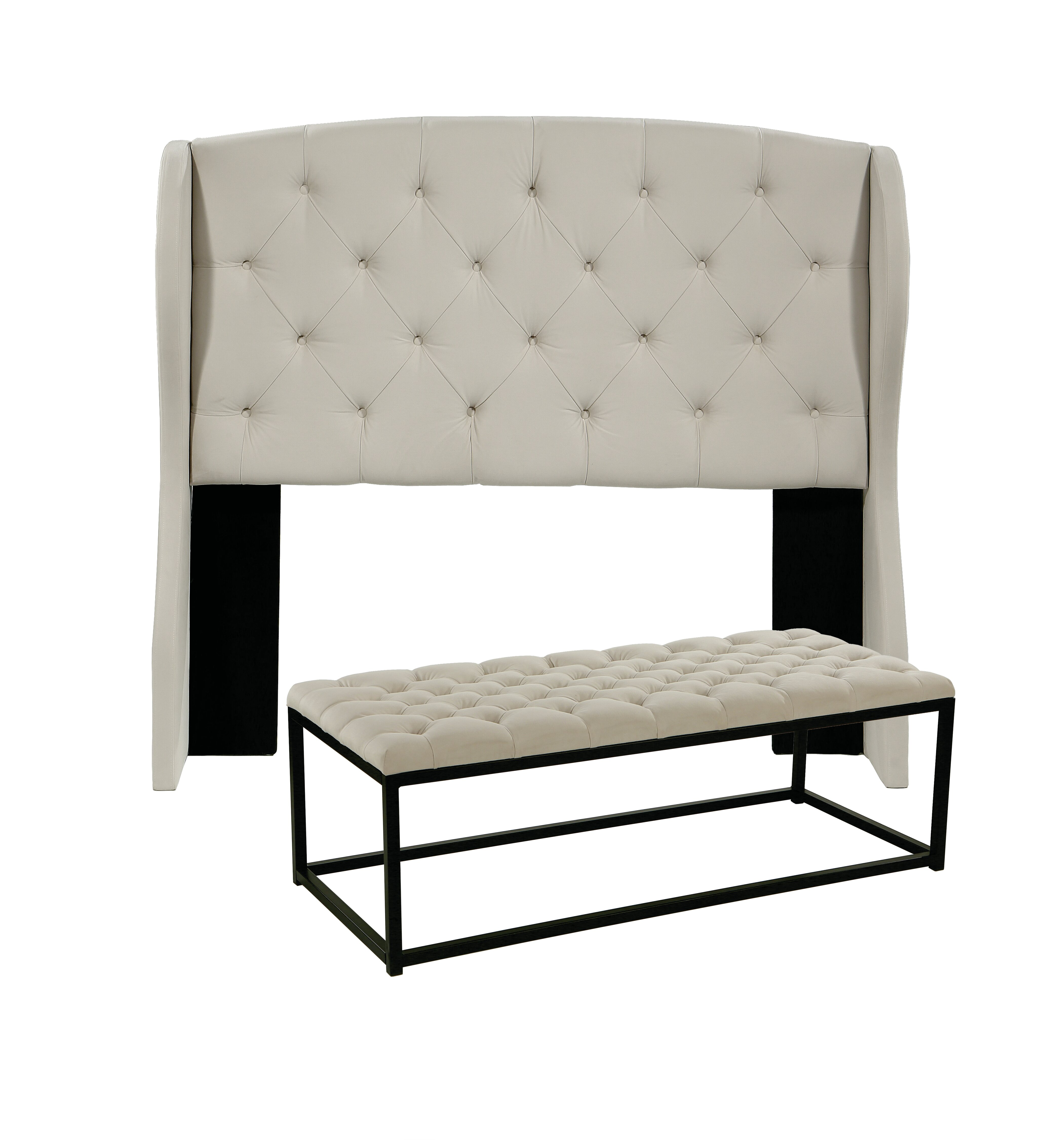 Cool Sornson Upholstered Wingback Headboard And Tufted Bench Evergreenethics Interior Chair Design Evergreenethicsorg
