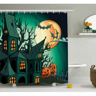 Teal Halloween Haunted Castle Shower Curtain By The Holiday Aisle