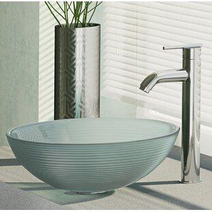 Sparkling Glass Circular Vessel Bathroom Sink with Faucet ByRené Elkay