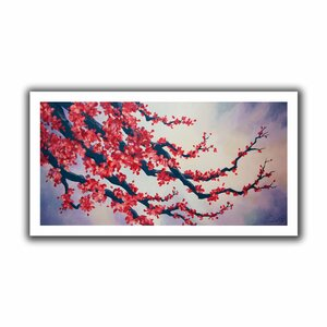 Red Cherry Blossom' by Shiela Gosselin Painting Print on Rolled Canvas by ArtWall