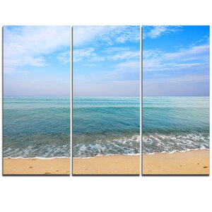 Blue Sky Sand Sun Daylight - 3 Piece Photographic Print on Wrapped Canvas Set by Design Art