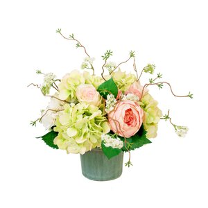 Mixed Hydrangea and Roses Centerpiece in Planter