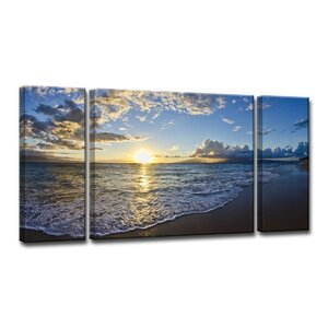 'Upon the Shoreline' by Christopher Doherty 3 Piece Framed Photographic Print on Wrapped Canvas Set by Ready2hangart