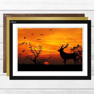 'Sunset Stag and Birds Landscape' Framed Graphic Art