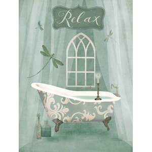 'Vintage Bathroom Inspired Relax Green Bathtub' by Beth Albert Graphic Art Print on Wrapped Canvas by Buy Art For Less