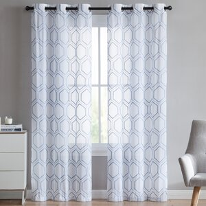 Bohler Geometric Sheer Grommet Curtain Panels (Set of 2)