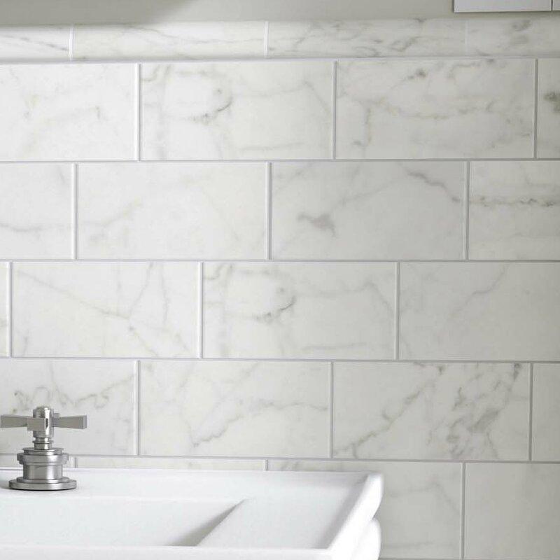 Elitetile Karra Carrara 3 X 6 Ceramic Subway Tile In Matte White