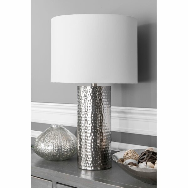 Stunning Table Lamp Hammered Aged Bronze and Linen Effect Stylish