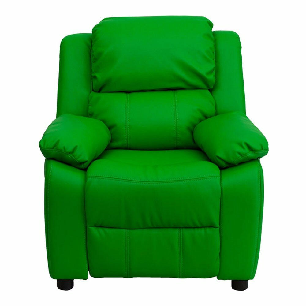 Zoomie Kids Ashley Heavily Padded Contemporary Kids Recliner With Storage  Arm | Wayfair