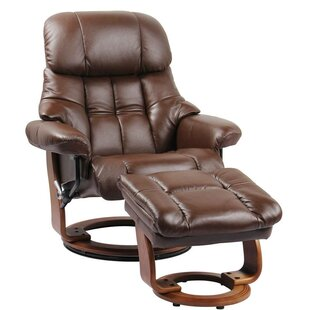Henkel Leather Manual Swivel Recliner with Ottoman Red Barrel Studio