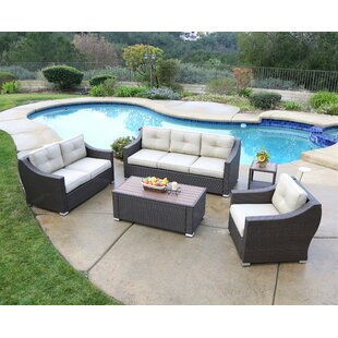 Suai 5 Piece Rattan Sofa Seating Group with Cushions By Brayden Studio