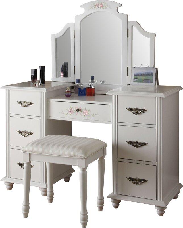 Vanity And Mirror Set Part - 33: Claire Makeup Vanity U0026 Mirror Set