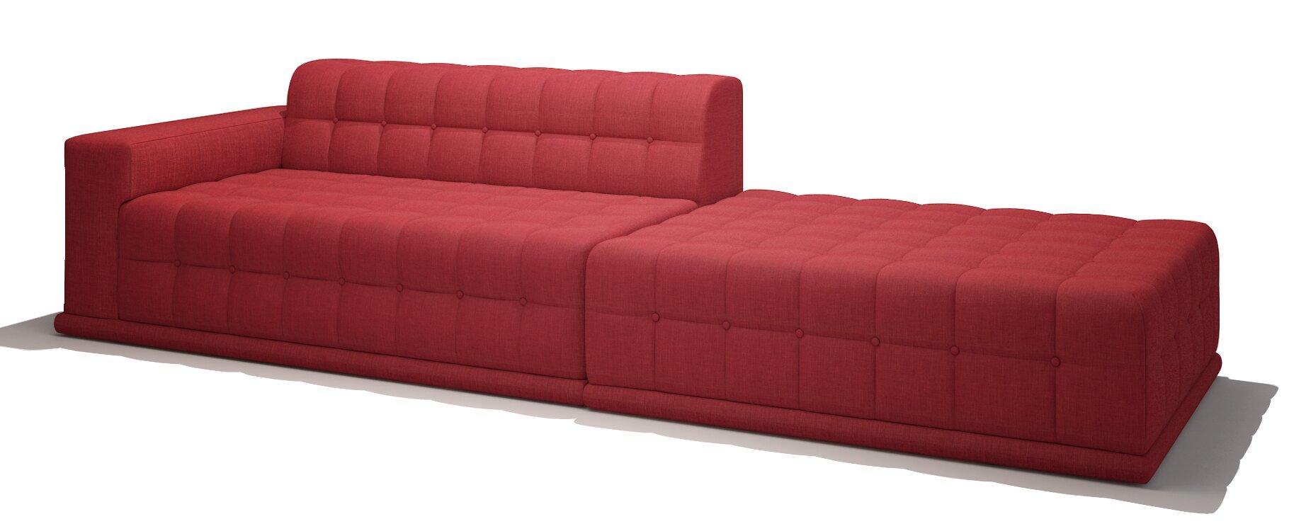 TrueModern Bump Bump One Arm Sofa With Chaise | Wayfair