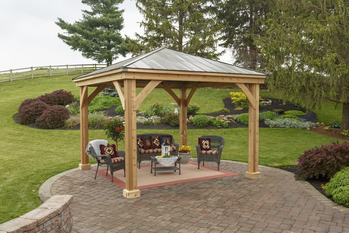 12 Ft. W x 12 Ft. D Wood Permanent Gazebo & YardCraft 12 Ft. W x 12 Ft. D Wood Permanent Gazebo u0026 Reviews ...