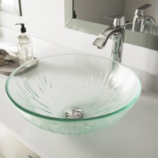 Shop For Icicles Glass Circular Vessel Bathroom Sink with Faucet By VIGO
