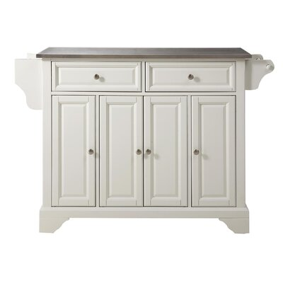 Three Posts Hedon Kitchen Island With Stainless Steel Top