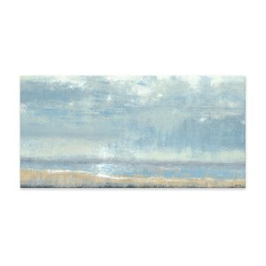 Shoreline View Textured Painting Print on Canvas by Artefx Decor