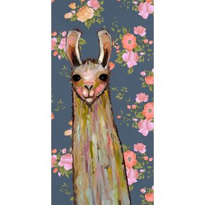'Baby Llama - Floral' by Eli Halpin Print of Painting on Canvas by GreenBox Art