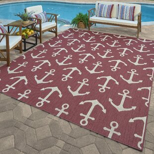 Khalil Red/Beige Indoor/Outdoor Area Rug by Breakwater Bay