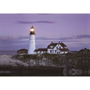 LED Lighted Coastal Lighthouse Home with Purple Sunset Photographic Print on Canvas by Northlight Seasonal