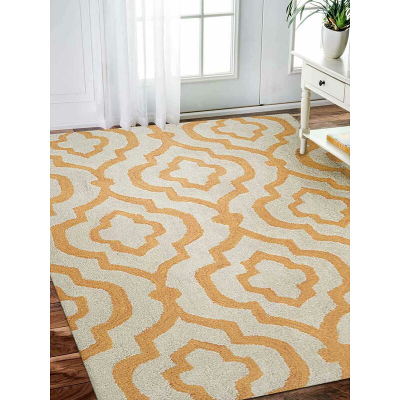 Charlton Home Beamish Geometric Handmade Tufted White Area Rug Wayfair